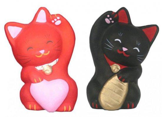 あかねこちゃんと黒こばんちゃん(大きさ約11センチ)招き猫 土人形 置物 風水グッズ 縁起物