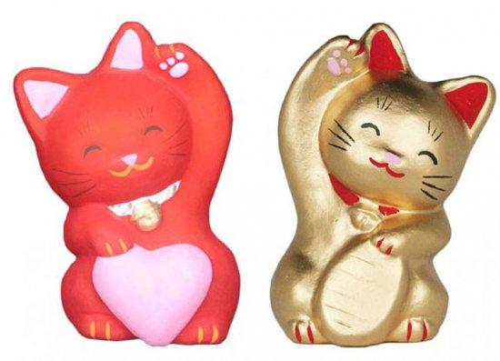 あかねこちゃんときんねこちゃん(大きさ約11センチ)招き猫 土人形 置物 風水グッズ 縁起物