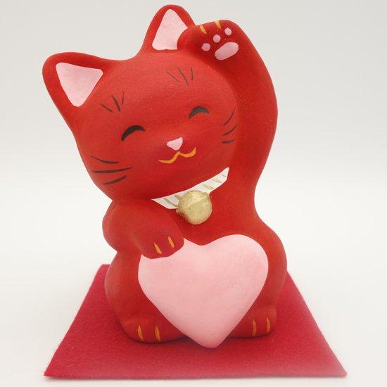 病気除けの招き猫 あかねこちゃん(大きさ約11センチ) 土人形 置物 風水グッズ 縁起物
