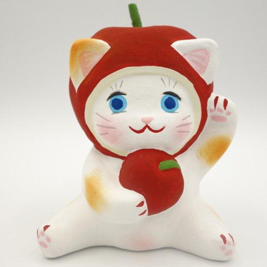 健康運アップのリンゴの招き猫(約10センチ)土人形 置物 風水グッズ 縁起物