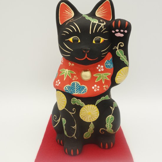 高級感のある黒の魔除けの招き猫 おまもりねこ (大きさ約19センチ) 土人形 置物 風水グッズ 縁起物 厄…