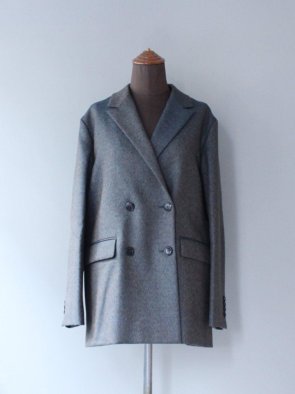 """<img class='new_mark_img1' src='https://img.shop-pro.jp/img/new/icons8.gif' style='border:none;display:inline;margin:0px;padding:0px;width:auto;' />FILL THE BILL"""" WOOL TWISTCOLLOR DOUBLE BLAZER (BLUE BEIGE MIX)"""