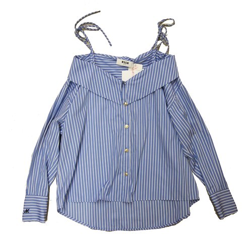 <img class='new_mark_img1' src='//img.shop-pro.jp/img/new/icons16.gif' style='border:none;display:inline;margin:0px;padding:0px;width:auto;' />MSGM OFF SHOULDER STRIPE BLOUSE エムエスジーエム オフショルダーストライプブラウス
