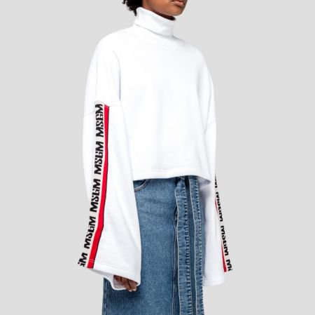 MSGM CROP SWEAT WITH LOGO BANDS エムエスジーエム ロゴ クロップドスウェット
