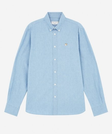 <img class='new_mark_img1' src='https://img.shop-pro.jp/img/new/icons16.gif' style='border:none;display:inline;margin:0px;padding:0px;width:auto;' />CHAMBRAY FOX HEAD EMBROIDERY CLASSIC SHIRT メゾンキツネ フォックスヘッド エンブロイダリー シャツ