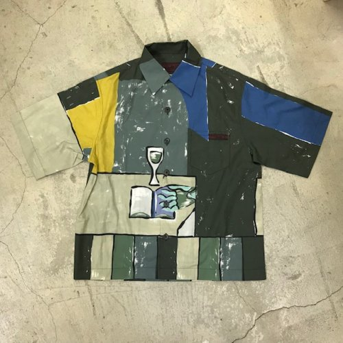 PRADA プラダ イラストプリントコットンアロハシャツ
