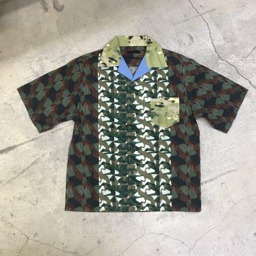 PRADA プラダ カモフラージュコットンアロハシャツ