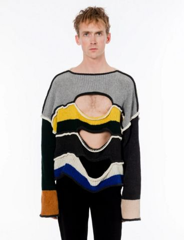 <img class='new_mark_img1' src='https://img.shop-pro.jp/img/new/icons16.gif' style='border:none;display:inline;margin:0px;padding:0px;width:auto;' />ECKHAUS LATTA NIHILIST SWEATER エコーズラッタ 配色ホールセーター