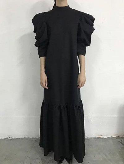 JOHN Black Mutton Sleeve Dress ジョン ブラック マトン スリーブドレス