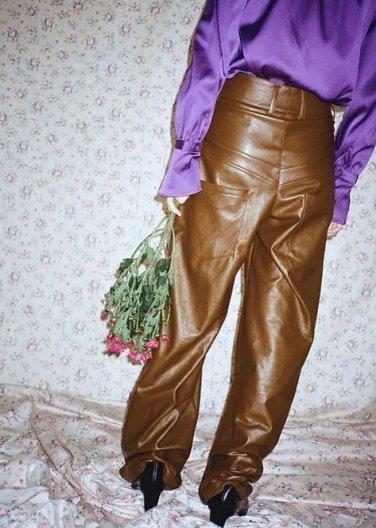 JOHN wide leg vegan leather trousers ジョン ワイドレッグ ビーガンレザー パンツ