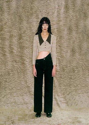 JOHN Navy Oblique High Waist Jeans ジョン アシンメトリー ハイウエスト デニム