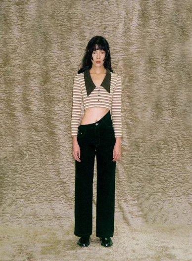 JOHN Black Oblique High Waist Jeans ジョン アシンメトリー ハイウエスト デニム