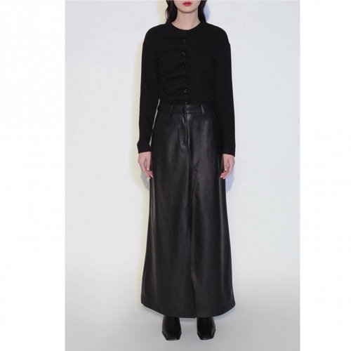 JOHN Faux Leather Slit Skirt  ジョン エコレザースリットスカート