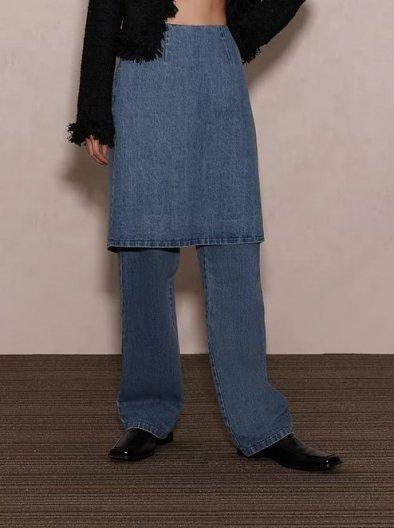 JOHN Denim Skirt Effect Trousers ジョン デニムスカート エフェクトトラウザー