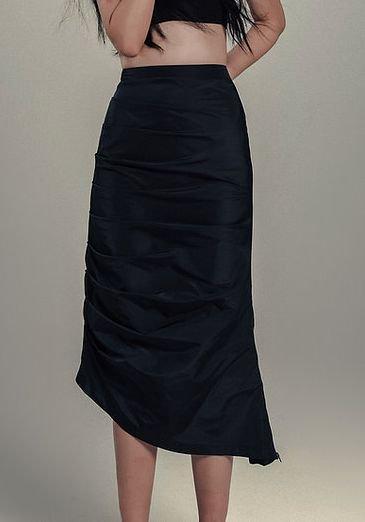JOHN Navy Shirring Midi Skirt ジョン ネイビー シャーリング スカート
