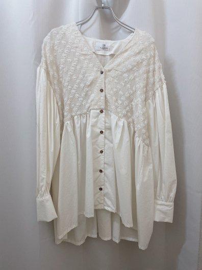 tsuyoshi yao tokyo Jaqurd Gather Shirts ツヨシ ヤオ ショルダージャカードギャザーシャツ