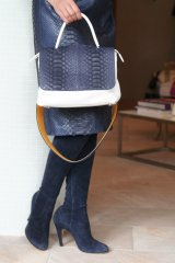 stylist オリジナル CHANGEABLE BAG mini/ホワイト・ネイビーパイソン