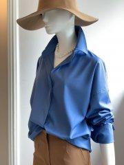 ボタン深開きシャツ(ブルー)