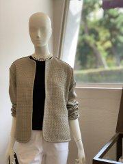 編み込みノーカラージャケット(ベージュ)