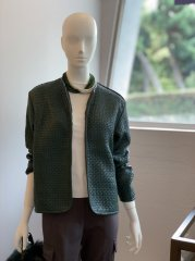 編み込みノーカラージャケット(グリーン)