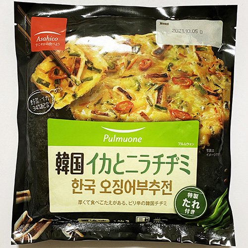 【冷凍便】pulmuone 韓国 イカと ニラチヂミ 特製 たれ付き 1枚入 217g