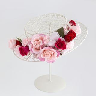 A&F015 お花冠 ピンク&真っ赤なバラ