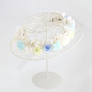 A&F015 お花冠 ホワイト&ブルー