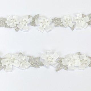 ビーズ付き輸入ブレード 花 ホワイト