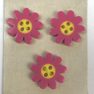 輸入ボタン フラワーボタン3個セット 20mm ピンク/イエロー