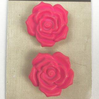 輸入ボタン バラボタン 2個セット 22mm ピンク