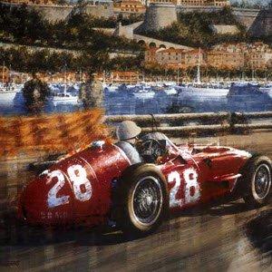 モータースポーツ アート マセラティ Maserati 250F Victory for Moss in Monaco by Juan Carlos Ferrigno