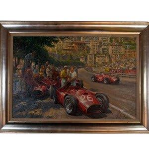 モータースポーツ アート マセラティ Maserati 250F モナコGP 1956 Original Painting by Alan Fearnley