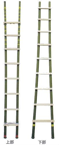 絶縁ハシゴ6.6m HA15-395 竹梯子同様に作業効果が得られます FRP製耐電圧はしご