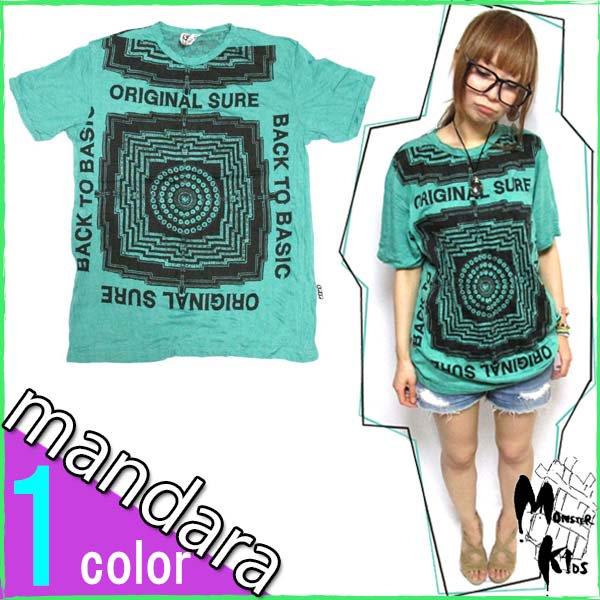 1色!【SURE】スクエア曼荼羅(マンダラ) Tシャツ