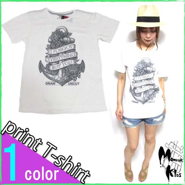 Tシャツ【DRAW UNCUT】 アンカー(メッセージ) Tシャツ