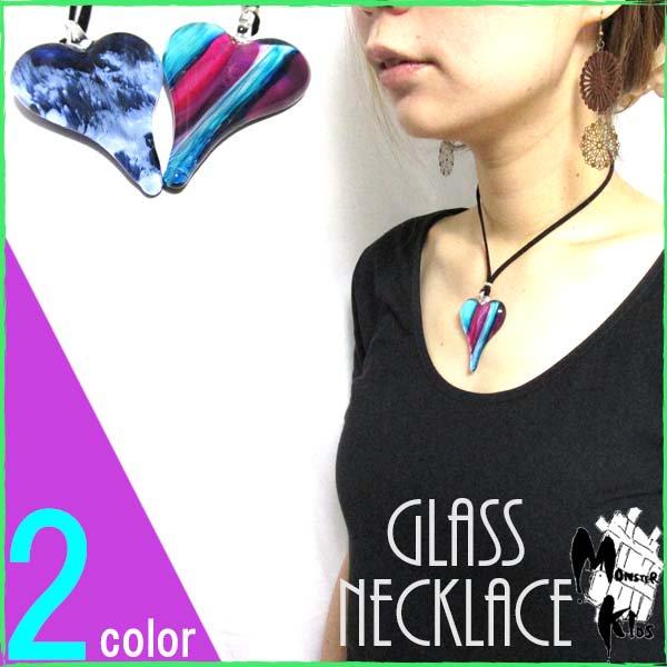 全2色!ガラスネックレス【タイ/ハンドメイドガラス】ハート型 ペンダント