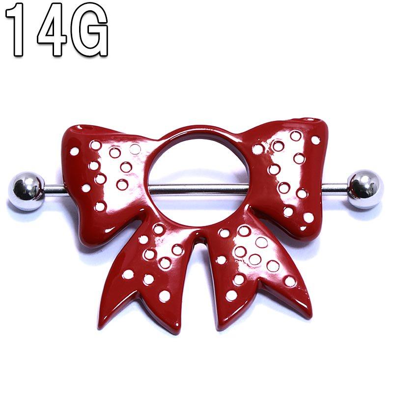 赤と白のドットリボン ニップルバーベル 【14G(1.6mm)】