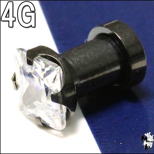ボディピアス 4G スクエアークリアジュエル ブラック プラグ(5.0mm) BPPL-36-04G
