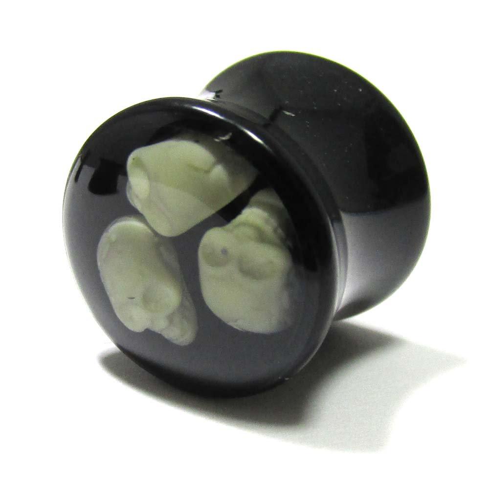 ボディピアス アクリル 3スカル ダイブ ダブルフレアプラグ【12.0mm】 BPPL-10-12mm