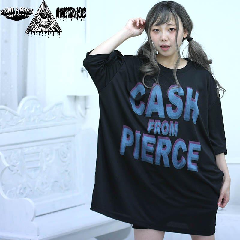 CASH FROM PIERCE ビッグサイズ メッシュTシャツ 黒 モンスターキッズ×プリントアンドブレイン コラボT