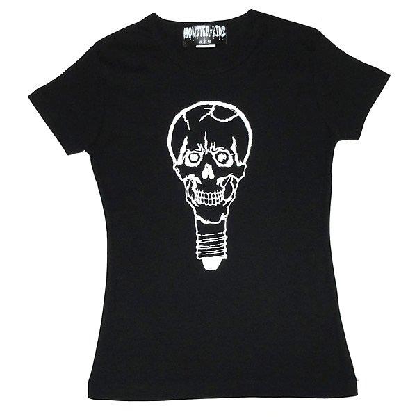 【女性らしいAライン】スカル電球 Tシャツ