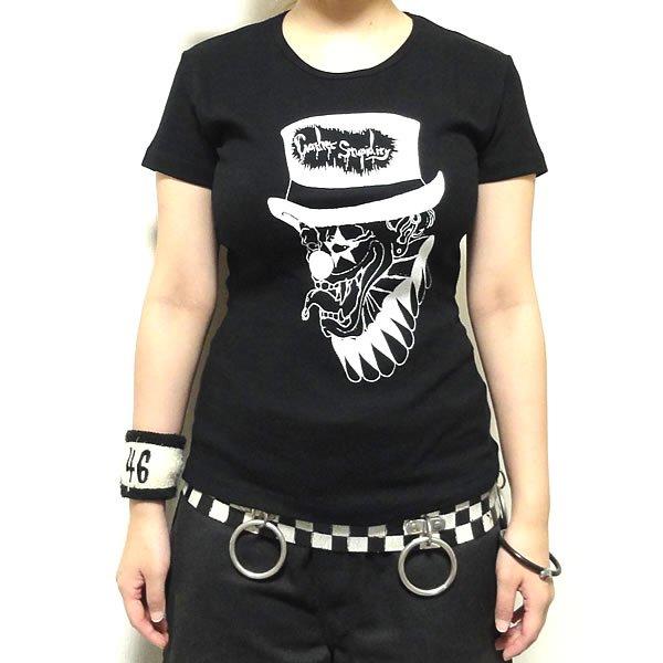 【女性らしいAライン】時計じかけの黒道化師 Tシャツ