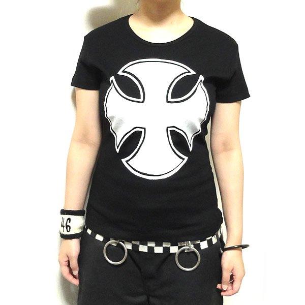 【女性らしいAライン】フロントビッグアイアンクロス Tシャツ
