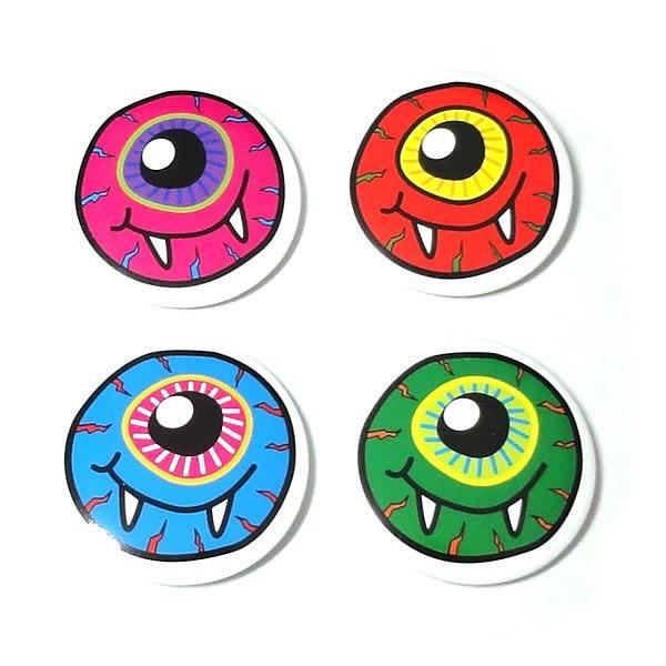 目玉モンスター缶バッジ【ブルー・グリーン・ピンク・レッド/30mm/4個セット】