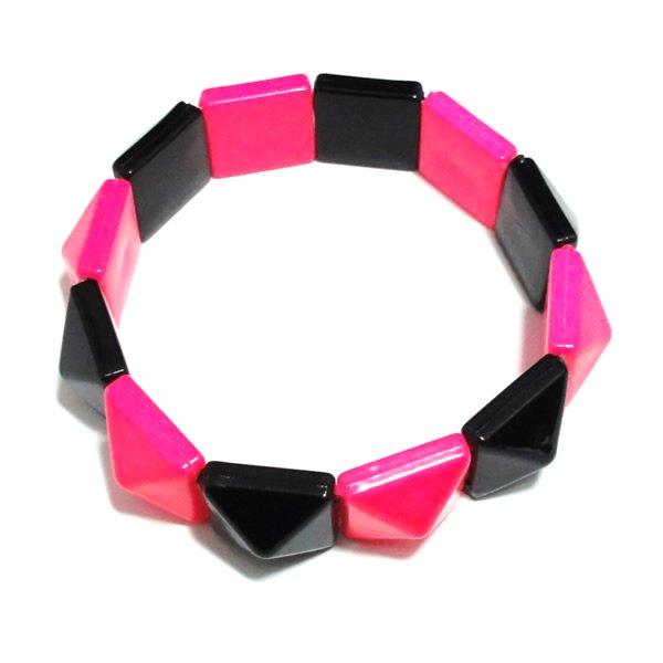 ケミカルカラーピラミッド鋲ブレスレット 【ピンク×ブラック】