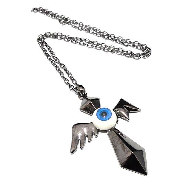 C.C.E.N(クリーチャーズ・クロス・アイボール・ネックレス) 【ブルー/獣の羽十字目玉】