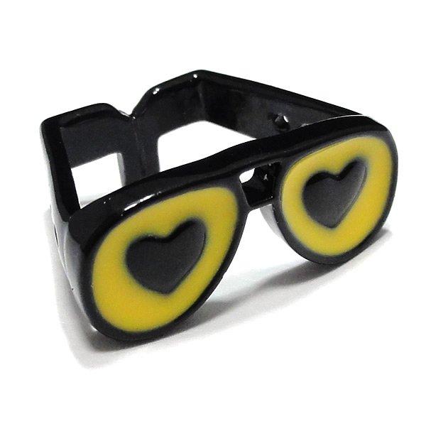 黒縁眼鏡(くろぶちメガネ)リング・ハート 【イエローカラー/約10号】
