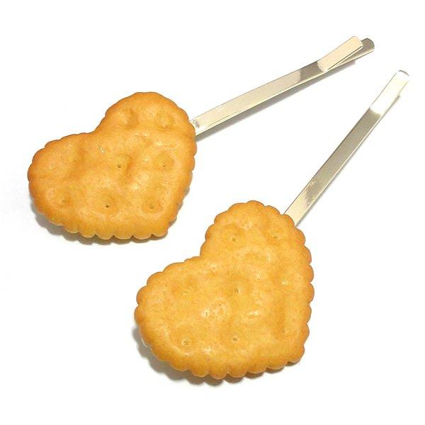スイーツデザイン・ハートクッキーヘアピン 【あっさりカラー(キャメルカラー)2ヶ売り】