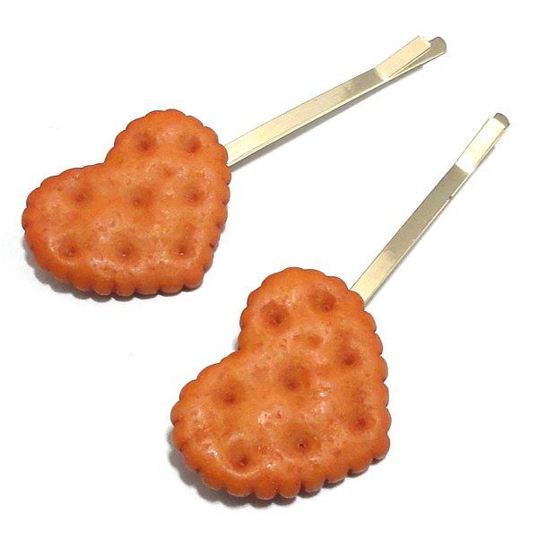 スイーツデザイン・ハートクッキーヘアピン 【こんがりカラー(ブラウンカラー)2ヶ売り】