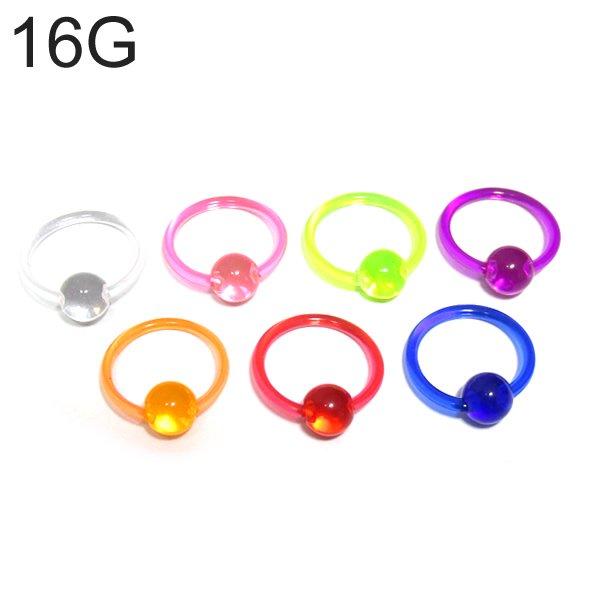 UVアクリル カラービーズリング 【16G(1.2mm)/内径10mm】